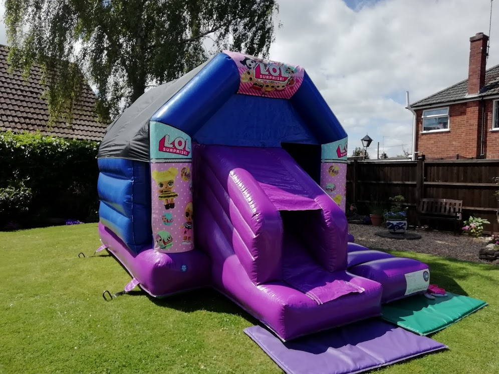 A frame bounce and slide bouncy castle