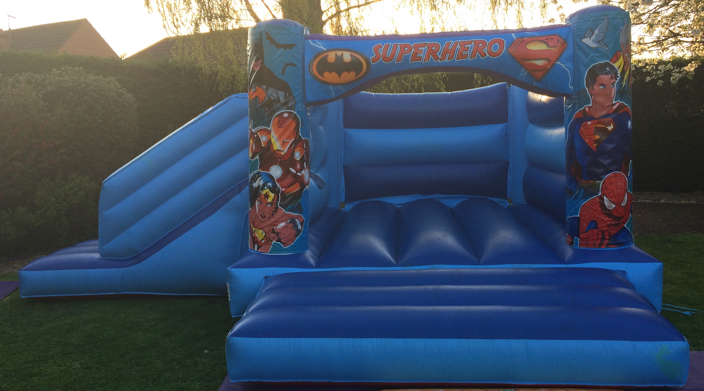 Blue Heroes Combo Bounce and Slide Bouncy Castle