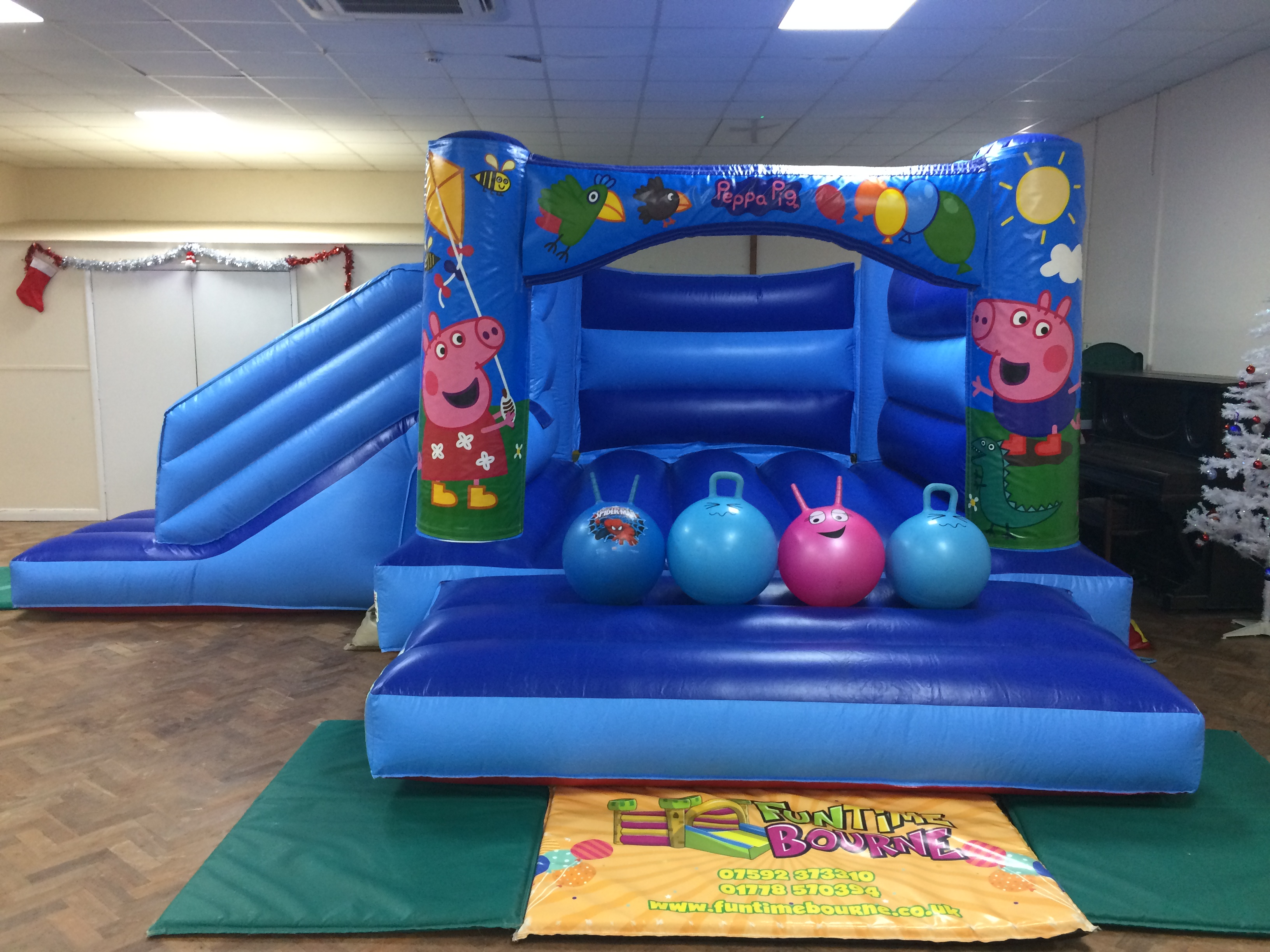 Blue Peppa Combo Bounce and Slide Bouncy Castle