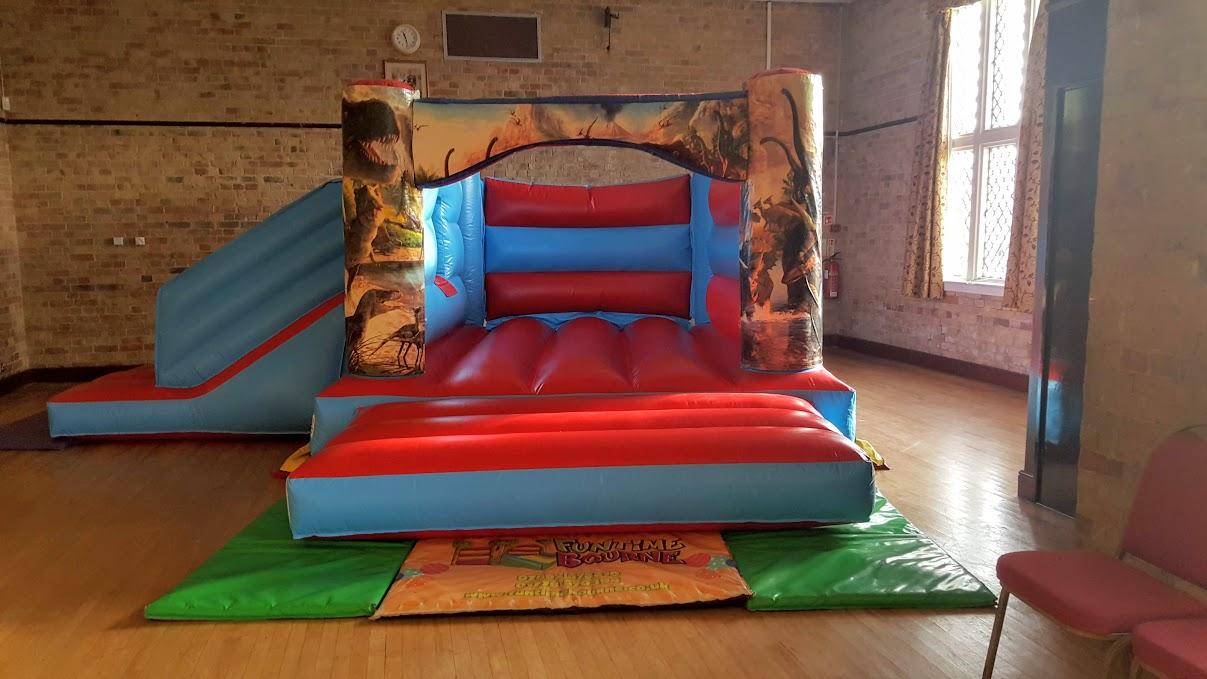 Jurassic Park inspired bouncy castle at Bedford Hall, Thorney