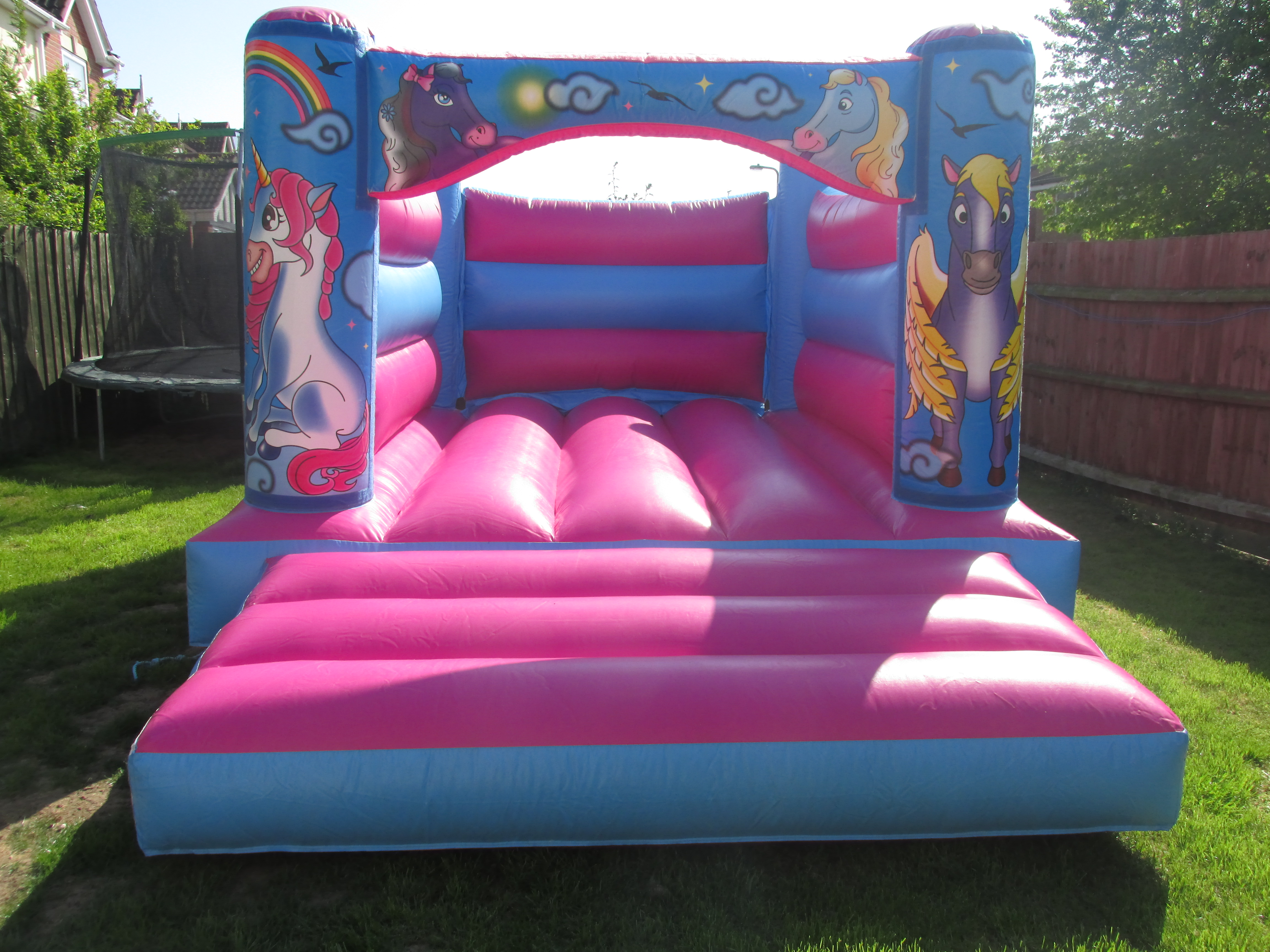 Pretty Pink Unicorn Bouncy Castle Hire In Bourne, Peterborough, Grantham and Spalding