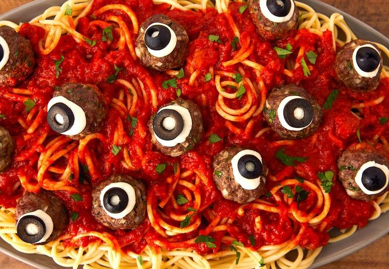 Meatball Eyeballs - Halloween Party Food Ideas