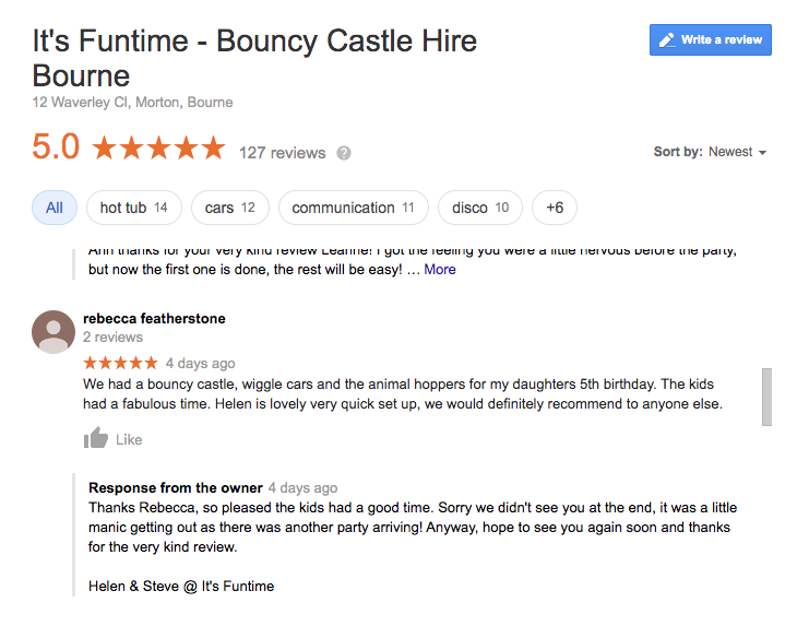 It's Funtime.  A Google 5* rated bouncy castle hire company