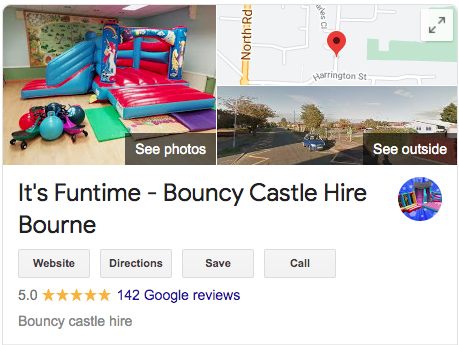 It's Funtime Bourne Bouncy Castle have hundreds of 5 star Google reviews.