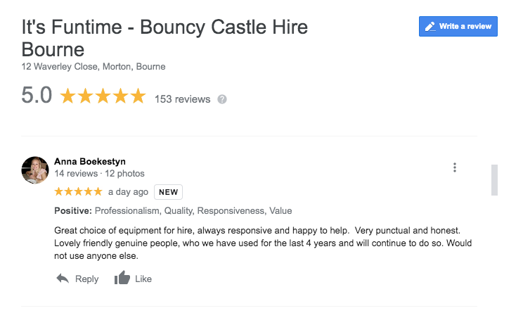 The number one bouncy castle company in Peterborough - It's Funtime
