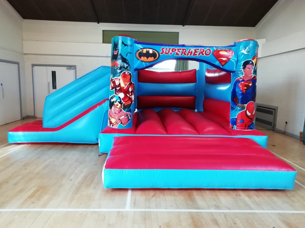 Superheroes bouncy castle at Lawrence Park Hall Thurlby
