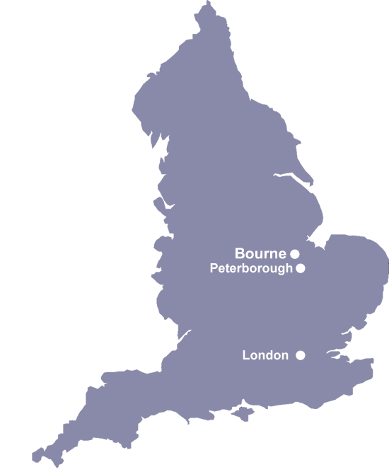 UK map of Bourne