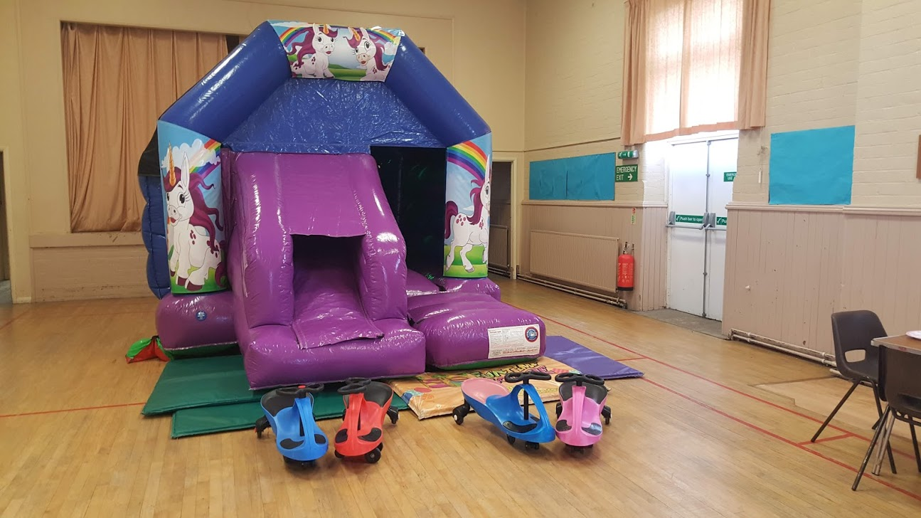 Unicorn disco bounce and slide in Ancaster village hall